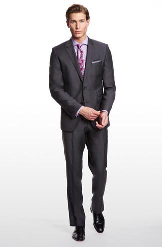 How to wear: charcoal blazer, violet dress shirt, charcoal dress pants, black leather derby shoes
