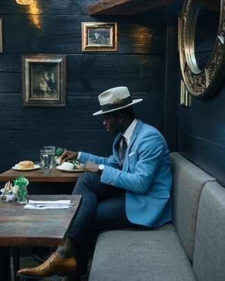Light Blue Blazer Outfits For Men: For a look that's sophisticated and gasp-worthy, wear a light blue blazer with navy dress pants. A pair of tan leather derby shoes is a wonderful pick to round off your ensemble.