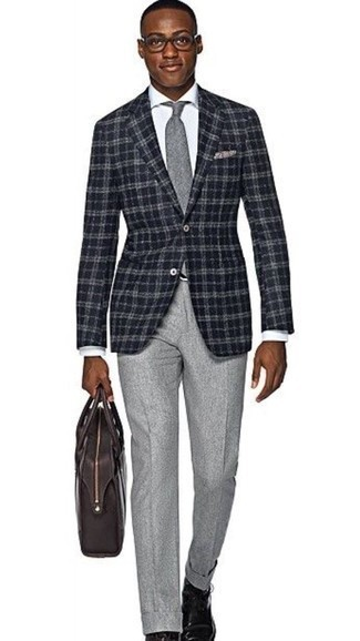 Grey Tie Outfits For Men: You're looking at the solid proof that a black plaid blazer and a grey tie look awesome when paired together in a classy ensemble for today's man. Does this look feel all-too-perfect? Let a pair of black leather casual boots mix things up a bit.