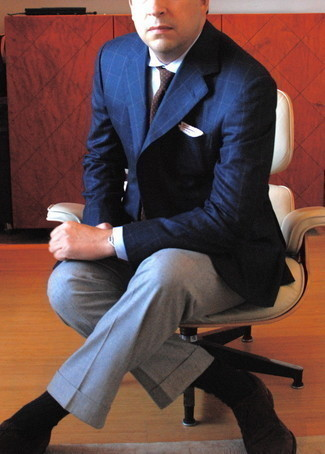 Grey Dress Pants Outfits For Men: A navy check blazer and grey dress pants are a savvy combo that will earn you a ton of attention. Avoid looking too casual by finishing off with a pair of dark brown suede oxford shoes.