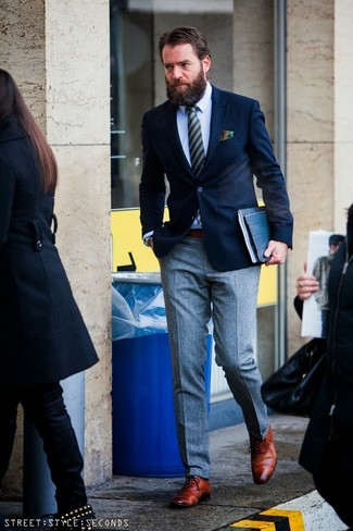 Wear a deep blue blazer and grey wool dress pants like a true gent. Smarten up your outfit with oxford shoes.