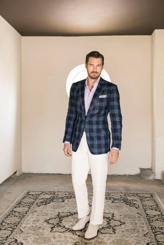 White Dress Pants Outfits For Men: This pairing of a navy and white plaid blazer and white dress pants is a tested option when you need to look like an expert in men's fashion. Complete your look with beige canvas derby shoes and you're all set looking amazing.
