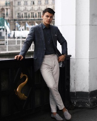 Dress Pants Outfits For Men: This combination of a charcoal check blazer and dress pants is ideal for smart occasions. For maximum style, introduce a pair of grey suede loafers to this look.