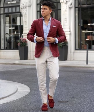 Burgundy Blazer Outfits For Men: Marrying a burgundy blazer with white dress pants is a nice pick for a classic and polished ensemble. Does this look feel all-too-fancy? Enter burgundy suede driving shoes to switch things up.