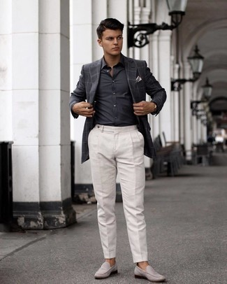 500+ Dressy Outfits For Men: To look like a British gentleman at all times, reach for a charcoal dress shirt.