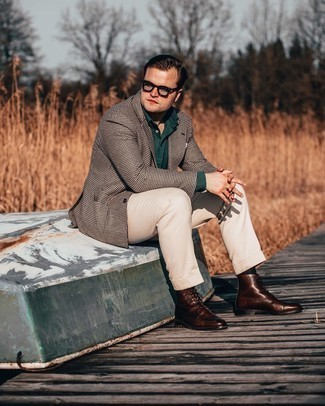 Clear Sunglasses Outfits For Men: Consider wearing a dark brown houndstooth blazer and clear sunglasses and you'll be ready for wherever this day takes you. A pair of dark brown leather casual boots instantly spruces up the look.