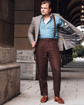 Suspenders Outfits: Pair a grey plaid blazer with suspenders for an easy-to-wear getup. Go the extra mile and jazz up your ensemble with a pair of brown suede tassel loafers.