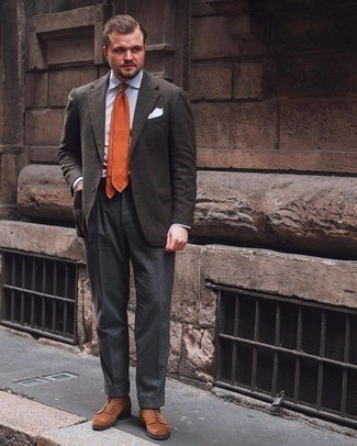 Orange Tie Outfits For Men: Teaming a dark brown plaid wool blazer and an orange tie is a surefire way to inject your wardrobe with some rugged refinement. When this look is too much, dial it down by rocking a pair of brown suede casual boots.