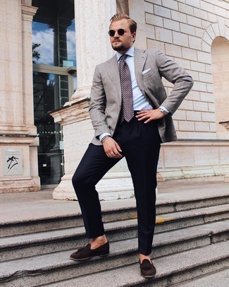 Navy Dress Pants Outfits For Men: This pairing of a grey check blazer and navy dress pants is a safe option when you need to look refined and seriously smart. A pair of dark brown suede tassel loafers integrates smoothly within a multitude of combos.