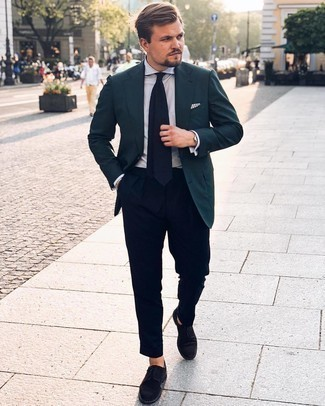 Navy Dress Pants Outfits For Men: Choose a teal blazer and navy dress pants to look like a modern dandy. A pair of black suede derby shoes will be a stylish accompaniment to your outfit.