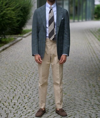 Driving Shoes Outfits For Men: Teaming a dark green plaid blazer with khaki dress pants is a good pick for a smart and polished outfit. For a more relaxed aesthetic, introduce driving shoes to the mix.