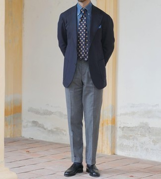 Black Leather Loafers Outfits For Men: A modern gent's refined collection should always include such must-haves as a navy blazer and grey dress pants. We're totally digging how complete this outfit looks when finished off with a pair of black leather loafers.