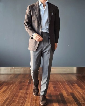 Grey Socks Outfits For Men: A dark brown plaid wool blazer and grey socks are a great outfit worth having in your day-to-day styling arsenal. Finishing with a pair of dark brown suede loafers is an effective way to add an extra dimension to your outfit.