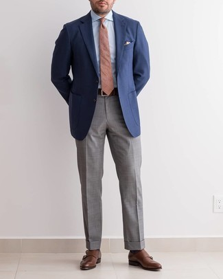 Navy Blazer with Grey Dress Pants Outfits For Men: This elegant combo of a navy blazer and grey dress pants will be a good illustration of your sartorial savvy. Add a pair of dark brown leather double monks to the mix and you're all set looking killer.