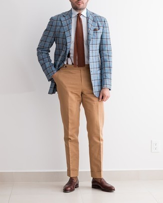 Suspenders Outfits: A light blue plaid blazer and suspenders are among the fundamental elements in any guy's properly balanced casual arsenal. For something more on the dressier end to complete this getup, round off with dark brown leather loafers.