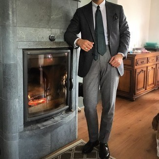 Dark Green Socks Outfits For Men: Why not consider wearing a charcoal wool blazer and dark green socks? Both of these pieces are totally comfortable and will look amazing when paired together. Add dark brown leather loafers to the equation for an instant style boost.