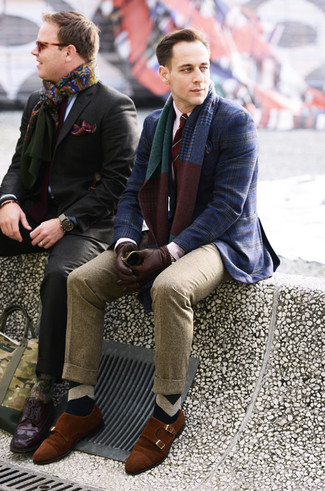 How to wear: navy plaid blazer, white dress shirt, khaki wool dress pants, tobacco suede double monks