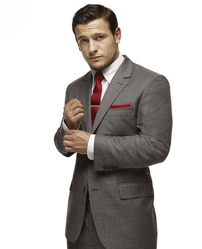 Men's Grey Blazer, White Dress Shirt, Grey Dress Pants, Red Tie
