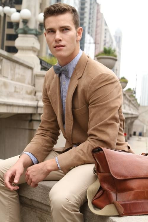 Men's Tan Blazer, Light Blue Dress Shirt, Beige Dress Pants, Brown ...
