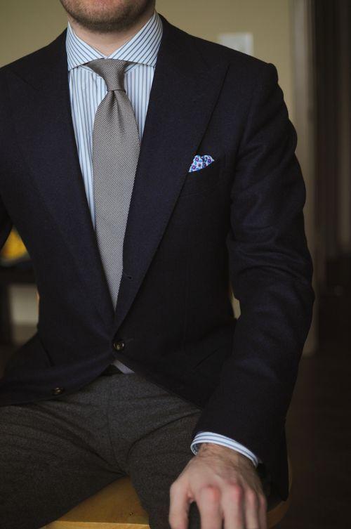 Mens Black Blazer Grey Vertical Striped Dress Shirt Charcoal Wool