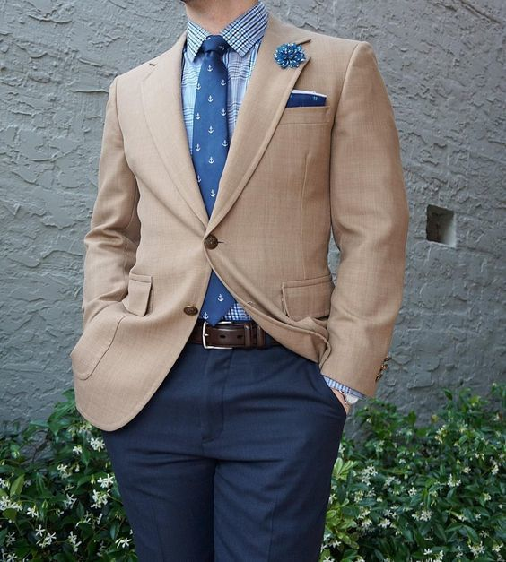 Tan sports jacket jackets review for Beige pants what color shirt