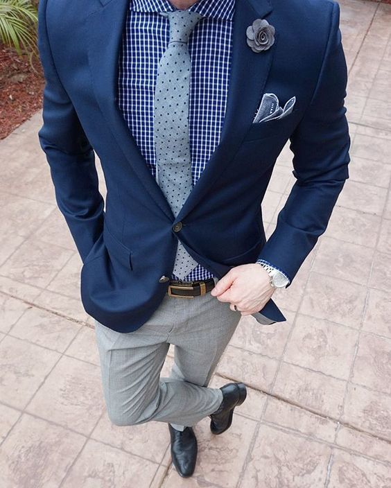 Black dress pants and blue blazer