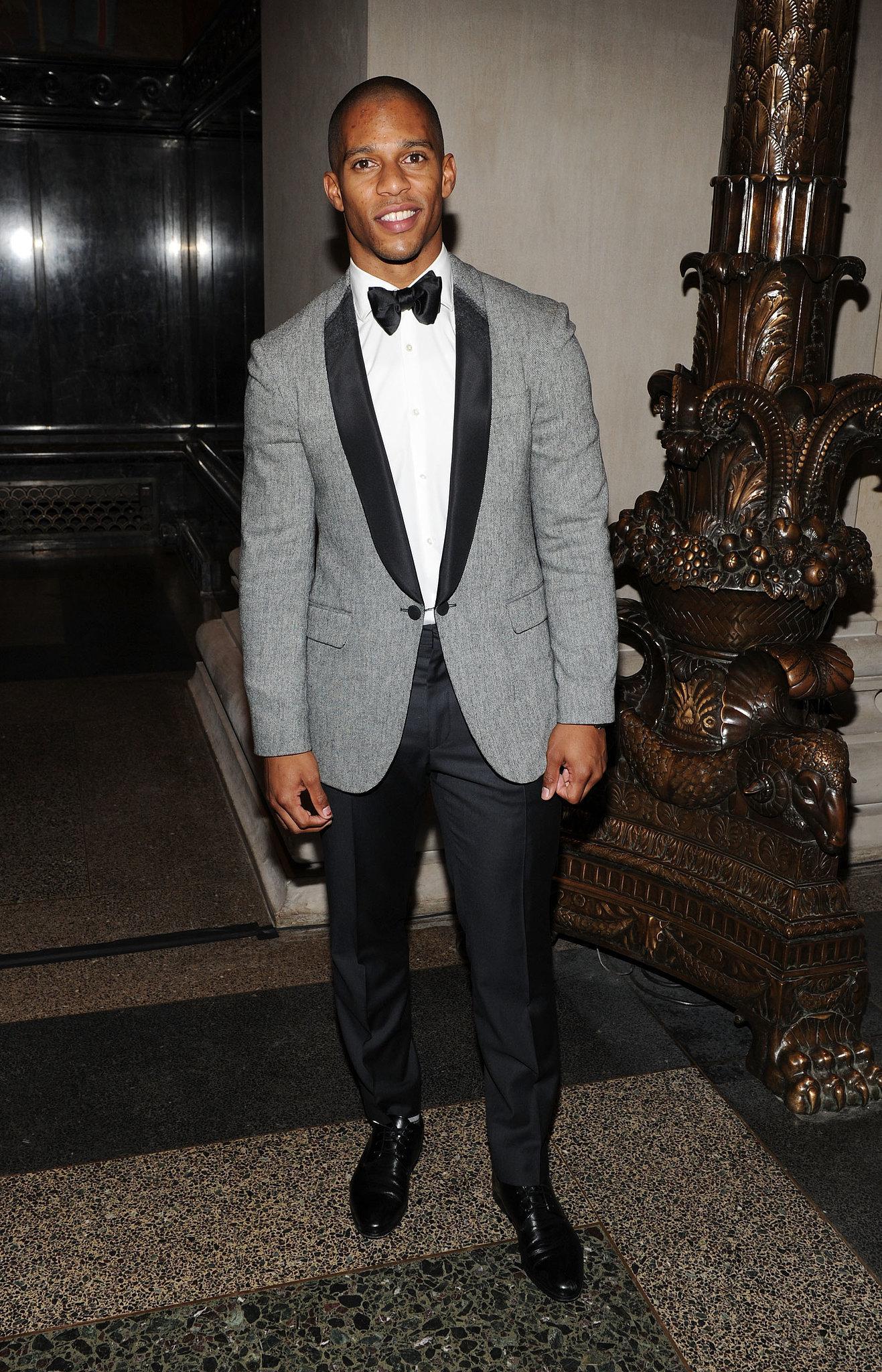 Victor Cruz wearing Grey Blazer, White Dress Shirt, Black Dress ...