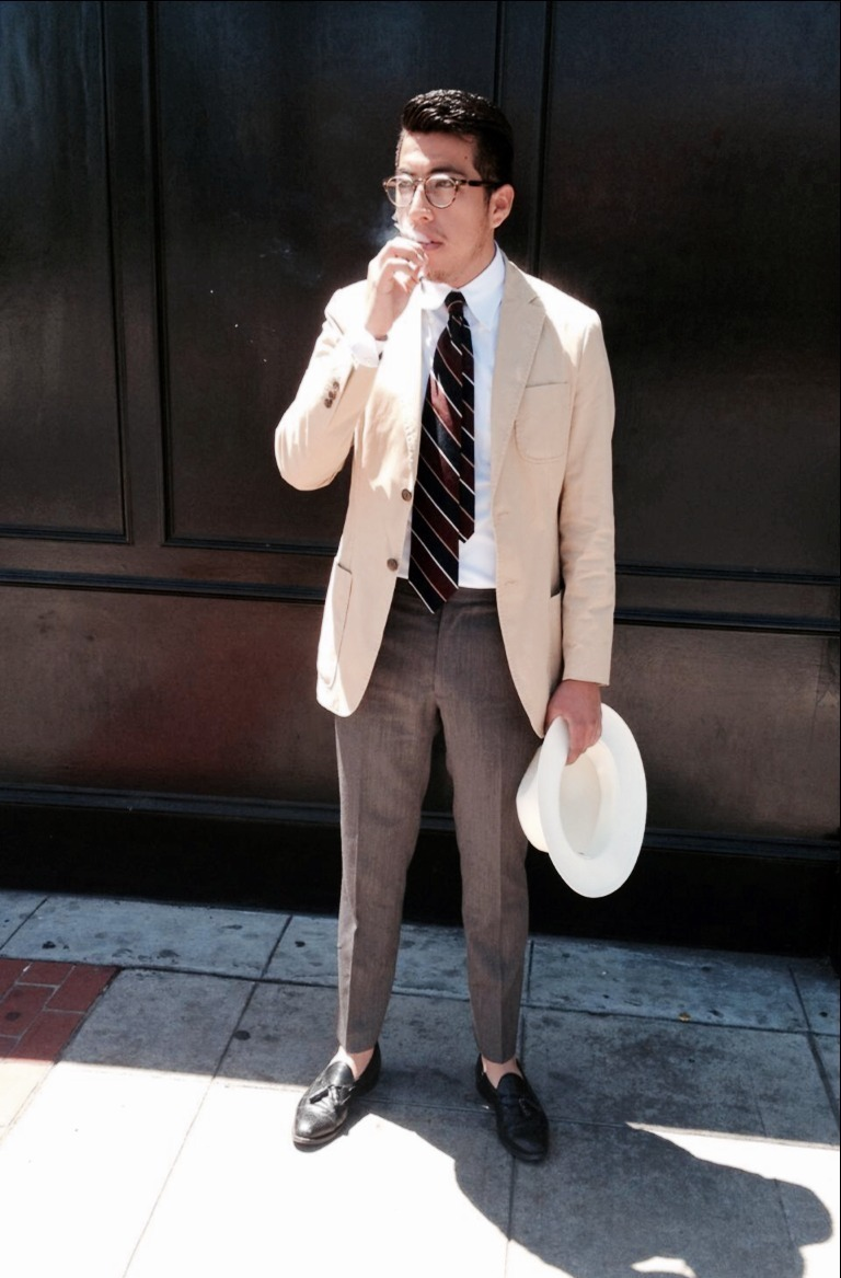 Cream dress shirt black shoes men