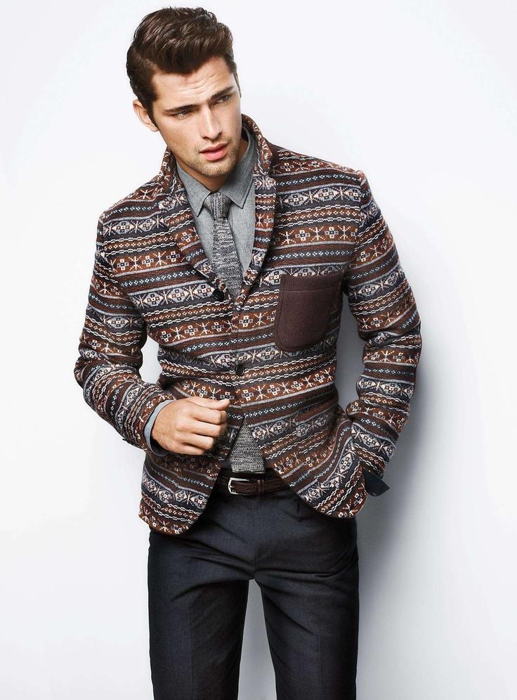 How to Wear a Brown Fair Isle Blazer (1 looks) | Men's Fashion
