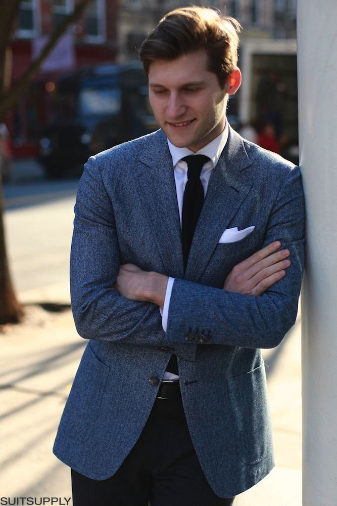 How To Wear a Blue Blazer With a Black Tie | Men's Fashion
