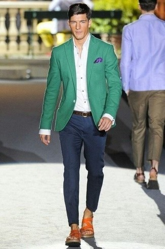 Men's Green Blazer, White Dress Shirt, Navy Dress Pants, Orange Leather Sandals