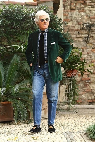 How to Wear Grey Sunglasses For Men: If you're on the hunt for a laid-back yet sharp ensemble, rock a dark green corduroy blazer with grey sunglasses. To introduce a bit of classiness to this ensemble, complement your getup with a pair of black embroidered velvet loafers.