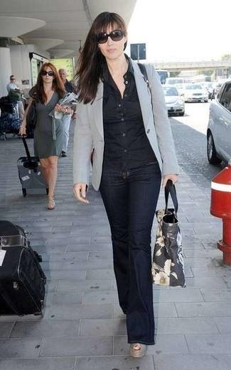 luisa zip front flare jeans