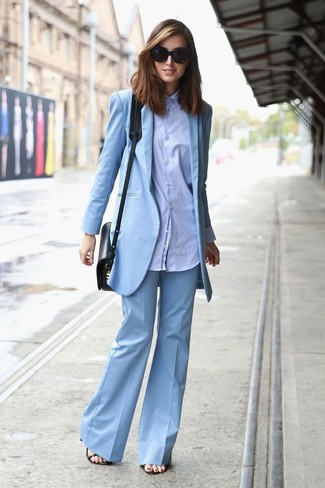 How to wear: light blue blazer, light blue dress shirt, light blue flare pants, black leather heeled sandals