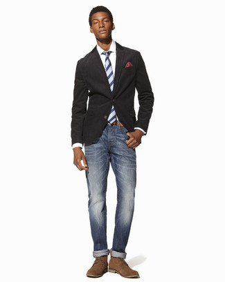 How to wear: charcoal cotton blazer, white dress shirt, blue jeans, tan suede desert boots