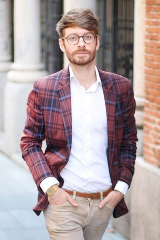 How to wear: red and navy plaid blazer, white dress shirt, khaki jeans, tobacco leather belt