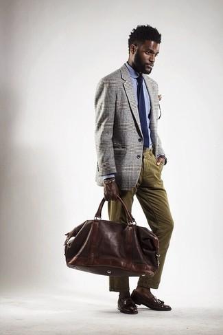 How to wear: grey plaid blazer, light blue dress shirt, olive corduroy jeans, dark brown leather tassel loafers