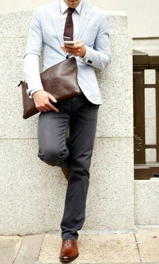 How to wear: light blue blazer, white dress shirt, charcoal jeans, brown leather oxford shoes