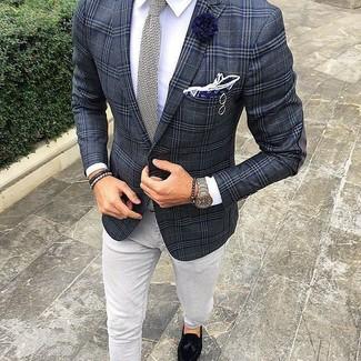 ff2cf6a0b04c87 ... Men's Charcoal Plaid Blazer, White Dress Shirt, Grey Jeans, Black Suede  Tassel Loafers
