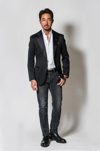 How to wear: black satin blazer, white dress shirt, charcoal jeans, black leather chelsea boots