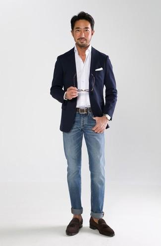 Men's Navy Blazer, White Dress Shirt, Blue Jeans, Dark Brown Suede Tassel Loafers