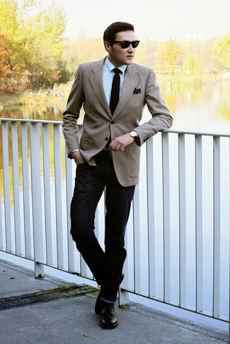 Men's Tan Blazer, Light Blue Dress Shirt, Black Jeans, Dark Brown ...