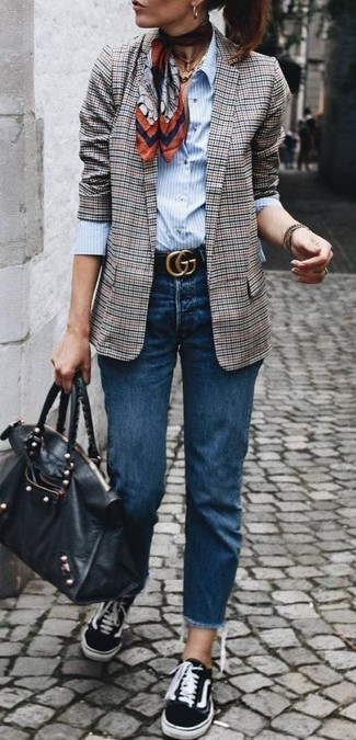 How to wear: grey plaid blazer, light blue vertical striped dress shirt, navy jeans, black canvas low top sneakers