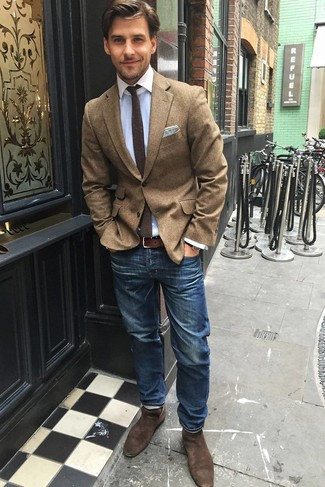 How to wear: brown wool blazer, light blue dress shirt, blue jeans, brown suede chelsea boots