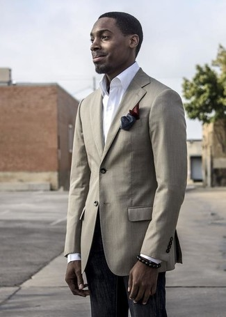 How to wear: beige blazer, white dress shirt, black jeans, burgundy silk pocket square