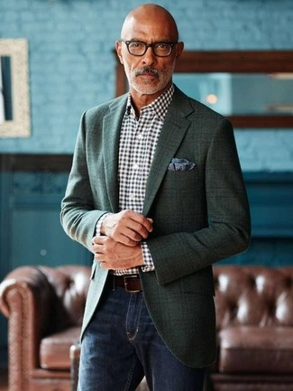 How to wear: dark green plaid blazer, black and white gingham dress shirt, navy jeans, navy print pocket square