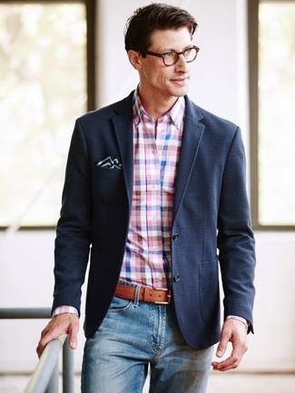 How to wear: black blazer, pink gingham dress shirt, blue jeans, black and white pocket square