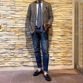 How to Wear a Brown Check Blazer For Men: Combining a brown check blazer with navy jeans is an on-point pick for a laid-back and cool look. Complete your outfit with a pair of black leather tassel loafers to avoid looking too casual.