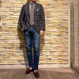 How to wear: dark brown plaid blazer, white and brown vertical striped dress shirt, navy jeans, burgundy leather tassel loafers
