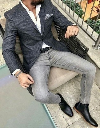 Grey Jeans with Black Chelsea Boots